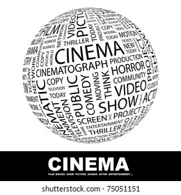 CINEMA. Globe with different association terms. Wordcloud vector illustration.