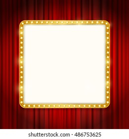 cinema golden square frame with shining light bulbs on red curtains background. vector illustration