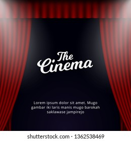 Cinema grand opening poster background template. Opened theater curtain with spotlights illustration design.