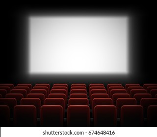 Cinema hall with glowing blank screen and empty red seats. Vector illustration.