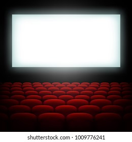Cinema hall with screen and red seats. And also includes EPS 10 vector