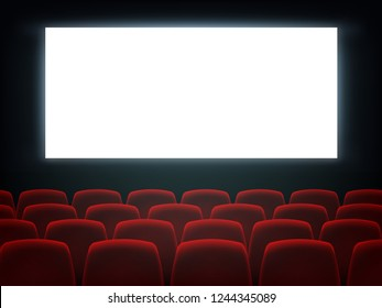Cinema hall with white blank screen and chairs. Movie theater empty scene design. Vector flat style cartoon illustration