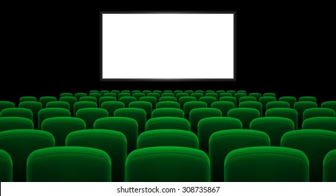Cinema hall with white screen and green row chairs
