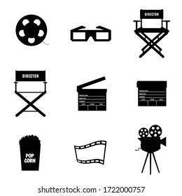 cinema icon in black color vector on white background