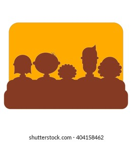 Cinema Icon Isolated on White Background. Movie Placard. People Watch Movies. Vector Illustration.