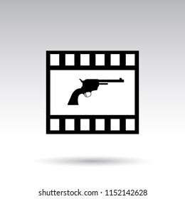 cinema icon, movie tape, crime action movie