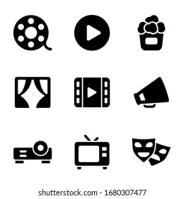 cinema icon pack on white background