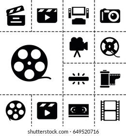 Cinema icon. set of 13 filled cinema icons such as movie clapper, movie tape, camera, film tape, camera tape, clapper board
