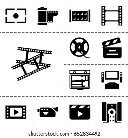Cinema icon. set of 13 filled cinemaicons such as fence, movie clapper, camera, film tape, camera tape, camera focus, clapper board, movie tape