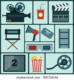 Cinema icon set. Making Movie. Camera, Movie  Ticket, Clapper board, Director's Seat, Loudhailer, Cocktail glass with tube, Film reel, 3D Glasses, Countdown screen, Popcorn. Vector illustration.