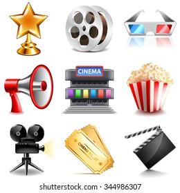Cinema icons detailed photo realistic vector set