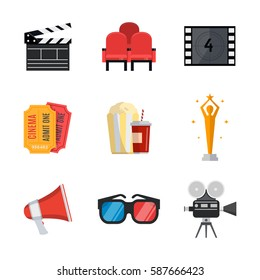 Cinema icons in flat style.