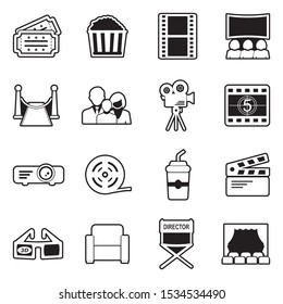 Cinema Icons. Line With Fill Design. Vector Illustration.