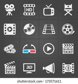 Cinema icons on black background. Vector illustration
