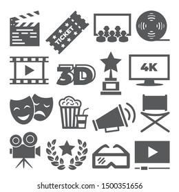 Kinosymbole auf weißem Hintergrund