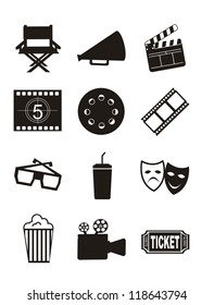 cinema icons over white background. vector illustration