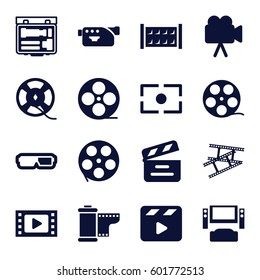 cinema icons set. Set of 16 cinema filled icons such as fence, movie clapper, movie tape, camera, film tape, camera tape, camera focus, TV system