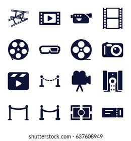 Cinema icons set. set of 16 cinema filled icons such as fence, ticket, red carpet barrier, movie clapper, movie tape, camera, camera tape, camera focus, red carpet