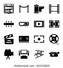 Cinema icons set. set of 16 cinema filled icons such as red carpet barrier, movie clapper, camera, film tape, camera tape, camera focus, movie tape, tv system