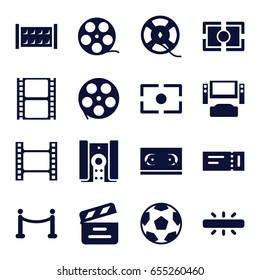 Cinema icons set. set of 16 cinema filled icons such as fence, ticket, movie clapper, movie tape, film tape, camera focus, camera, red carpet, tv system