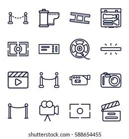 cinema icons set. Set of 16 cinema outline icons such as fence, ticket, Red carpet barrier, movie clapper, camera, film tape, camera tape, camera focus