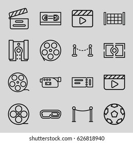 Cinema icons set. set of 16 cinema outline icons such as fence, ticket, Red carpet barrier, movie clapper, movie tape, camera, camera focus, camera tape, film tape