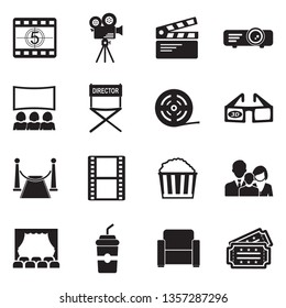 Cinema Icons. Set 2. Black Flat Design. Vector Illustration.