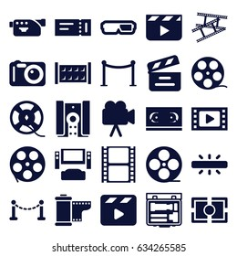 Cinema icons set. set of 25 cinema filled icons such as fence, ticket, red carpet barrier, movie clapper, movie tape, camera, film tape, camera tape, camera focus
