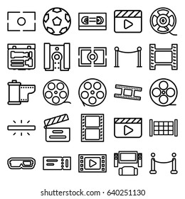 Cinema icons set. set of 25 cinema outline icons such as fence, ticket, red carpet barrier, movie clapper, movie tape, film tape, camera tape, camera, camera focus, red carpet