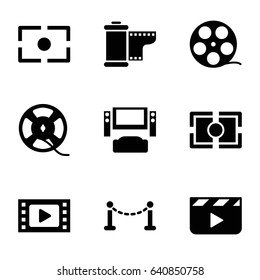 Cinema icons set. set of 9 cinema filled icons such as fence, film tape, camera tape, camera focus, clapper board, tv system