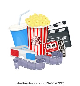 Cinema icons set with clapper board, film reel, popcorn, cola, tickets and 3D glasses. Vector