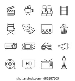 Cinema icons: thin monochrome icon set, black and white kit