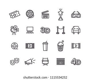 Cinema icons with White Background. Simple line vector icons.