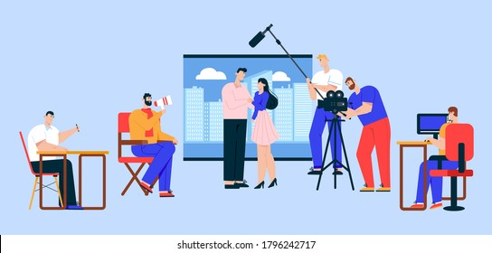 Cinema industry flat vector illustration. Movie director, cameraman, sound engineer and actress cartoon characters. Action film, advertisement shooting process. Show business, entertainment concept