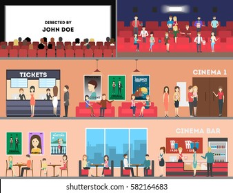 Cinema interior set. Screen and rows with audience, tickets and posters, cinema bar.