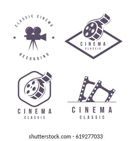 cinema labels emblem logo design element isolated on white background