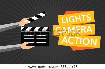 cinema lights camera action flat vector のベクター画像素材