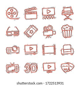 Cinema line icons in comic style. Entertainment set cartoon vector illustration on white isolated background. Movie media splash effect business concept.