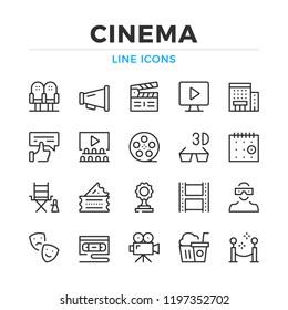 Cinema line icons set. Modern outline elements, graphic design concepts, simple symbols collection. Vector line icons
