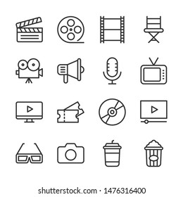 Cinema line icons set vector illustration. Contains such icon as film, movie, tv, video and more. Editable stroke