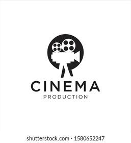 Cinema logo movie emblem template . Movie Production Logo .Film Camera Logo Template . Videography Logo Images