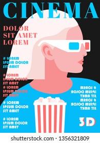 Cinema magazine cover design, 3d movie concept. Female character wearing 3d glasses. Vector illustration