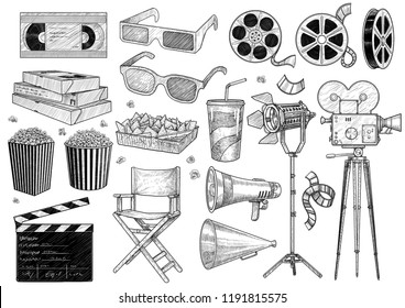 Cinema, movie, collection illustration, drawing, engraving, ink, line art, vector