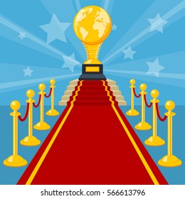 Cinema and Movie concept with flat icons red carpet award vector illustration