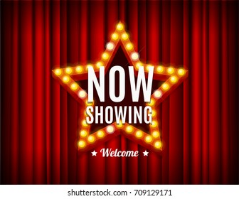 Cinema Movie Concept Light Bulbs Vintage Neon Glow Star Shape on a Red Curtains Background Card. Vector illustration