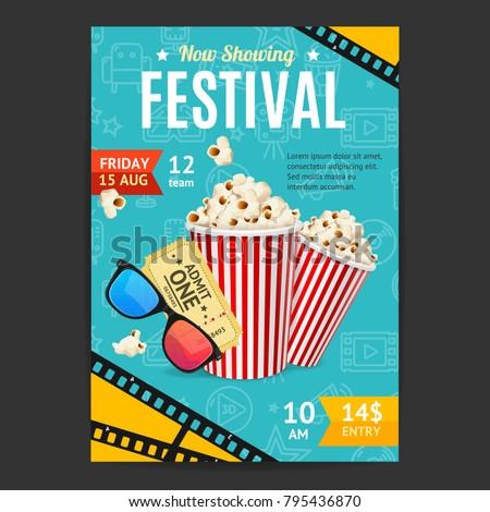 cinema movie festival placard banner card のベクター画像素材
