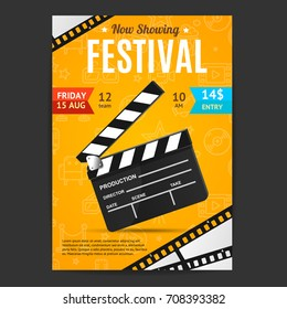 Cinema Movie Festival Poster Card Template with Realistic Clapper Board for Ad, Invitation, Presentation . Vector illustration of Film flyer