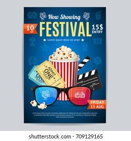Cinema Movie Festival Poster Card Template Include of Popcorn, Ticket and Clapper. Vector illustration of Premiere Film Invitation