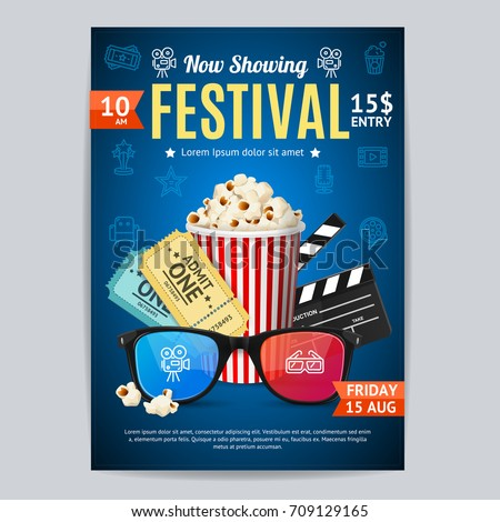 Cinema movie festival poster card template stock vector royalty cinema movie festival poster card template include of popcorn ticket and clapper vector illustration maxwellsz