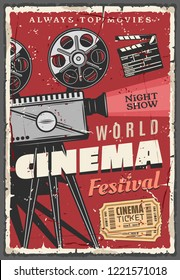 Cinema or movie festival retro poster. Vintage video camera with film reels and golden tickets, clapperboard or clapper, night show. Entertainment with motion picture on big screen, old camcorder